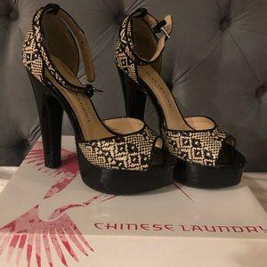 Chinese laundry black & tan heels